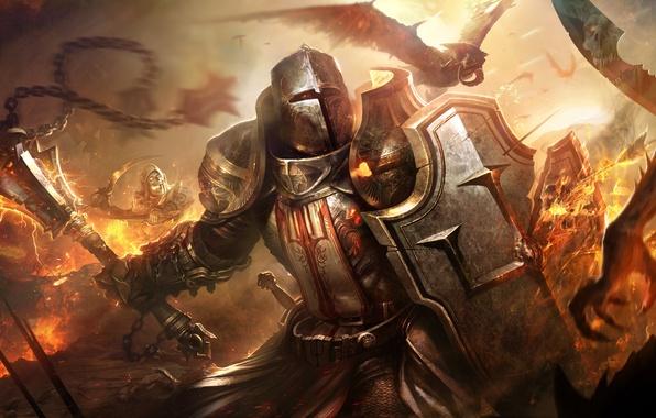 Картинка доспехи, воин, шлем, демоны, Diablo 3, нечисть, крестоносец, Crusader
