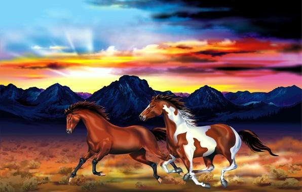 Картинка небо, горы, рисунок, равнина, лошади, арт, пара, зарево, скачут