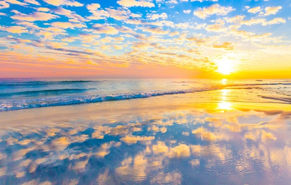 Картинка море, волны, пляж, облака, закат, отражение, зеркало
