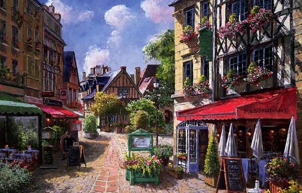 Картинка цветы, улица, дома, картина, зонтики, кафе, навес, Sung Sam Park