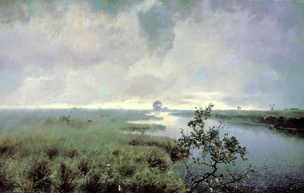 Картинка небо, трава, вода, облака, капли, пейзаж, тучи, природа, дождь, куст, картина, живопись, погода, холст, Ендогуров