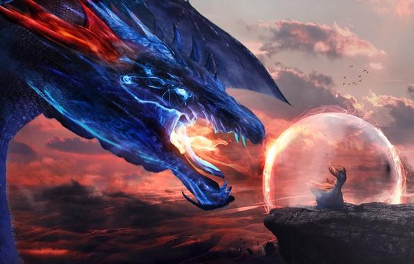 Картинка небо, взгляд, скала, фантастика, огонь, дракон, крылья, арт, пасть, маг