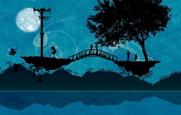 Картинка мост, люди, дерево, Вектор
