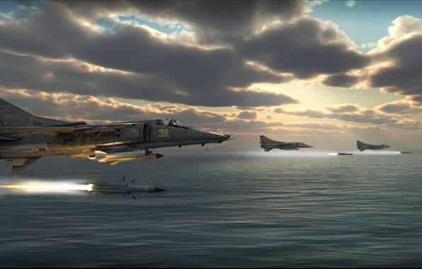 Картинка ракеты, арт, ВВС, истребитель-бомбардировщик, советский, сверхзвуковой, МиГ-27, третьего поколения