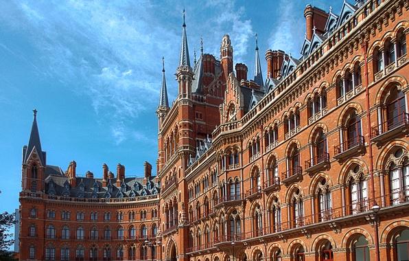Картинка небо, дом, Англия, Лондон, отель, архитектура, St. Pancras Renaissance