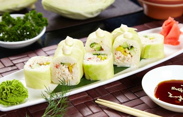 Фото обои вегетарианские, соус, роллы, начинка, васаби, капуста, суши