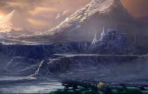 Картинка холод, море, вода, горы, замок, скалы, корабль, парусник, арт, льды
