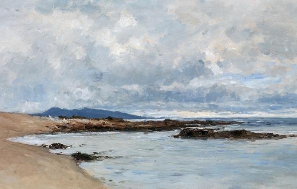 Картинка облака, горы, берег, картина, морской пейзаж, Карлос де Хаэс, Пляж в Андае