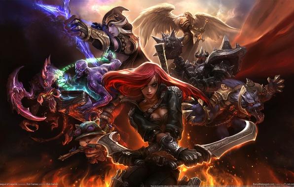 Картинка оружие, огонь, магия, крылья, монстр, воин, доспех, League of Legends