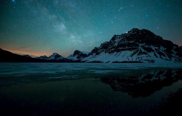 Картинка зима, небо, звезды, горы, ночь, Milky Way, Thawing Bow Lake