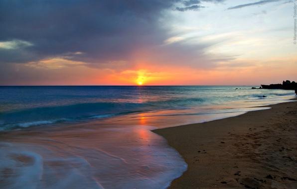 Картинка море, пляж, солнце, рассвет, андалузский