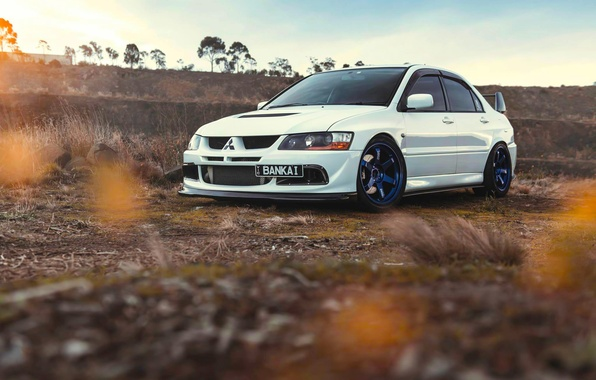 Картинка Mitsubishi, Lancer, Car, Front, Sun, Sunset, White, Evolution 9, Works