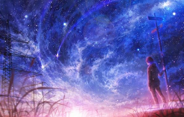 Картинка поле, небо, звезды, ночь, арт, парень