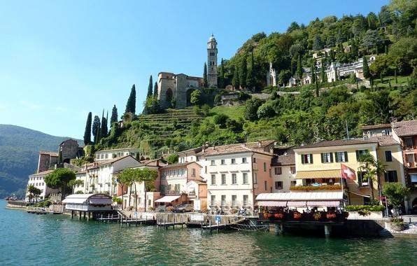 Картинка деревья, озеро, здания, пристань, дома, Швейцария, Switzerland