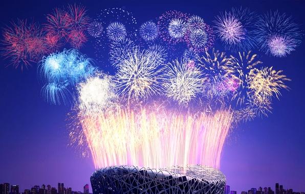 Картинка салют, Китай, Новый год, фейерверк, стадион, Пекин