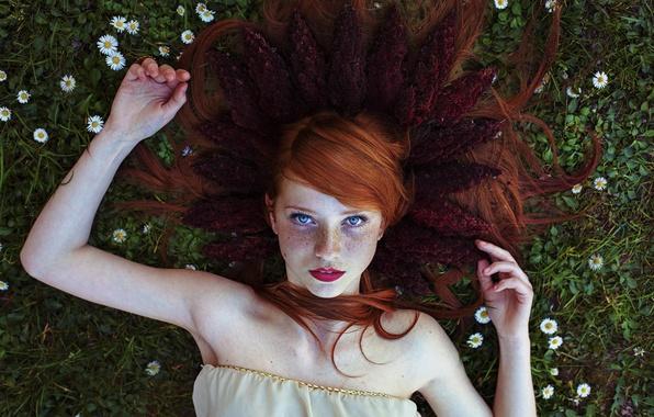 Картинка ромашки, веснушки, рыжеволосая, голубоглазая