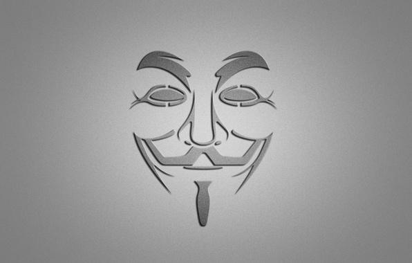 Картинка улыбка, минимализм, маска, серый фон, V for Vendetta, V — значит вендетта