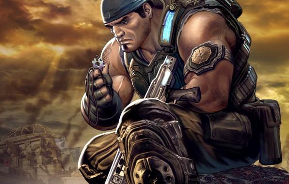 Картинка солдат, gears of war, art, marcus fenix