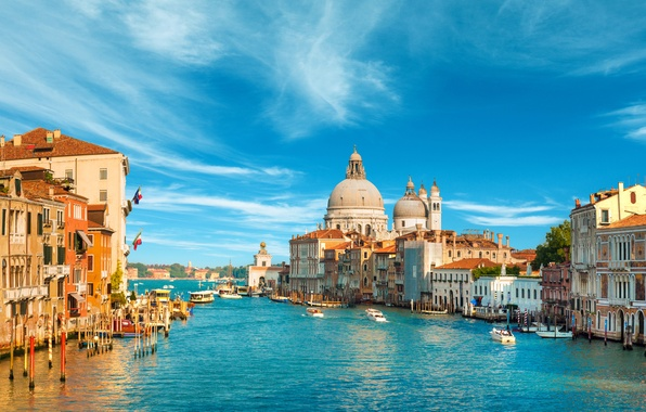 Картинка море, небо, облака, город, здания, лодки, Италия, Венеция, собор, канал, архитектура, Italy, гондолы, Venice, Venezia, …