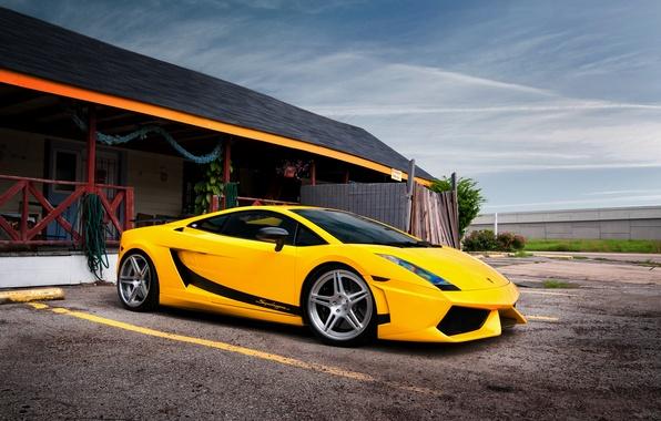 Картинка здание, гараж, Lamborghini, Superleggera, Gallardo, жёлтая, ламборджини, yellow, ламборгини, галлардо, суперлегера