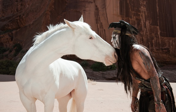 Картинка птица, Johnny Depp, лошадь, актер, Джонни Депп, ворона, индеец, The Lone Ranger, Одинокий рейнджер, Tonto