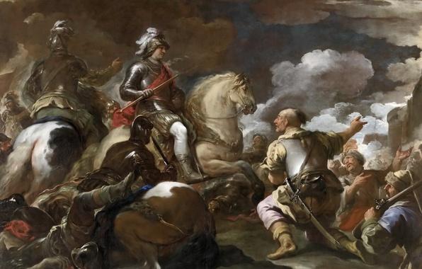 Фото обои картина, батальный жанр, Взятие Крепости, воин, лошадь, всадник, Лука Джордано