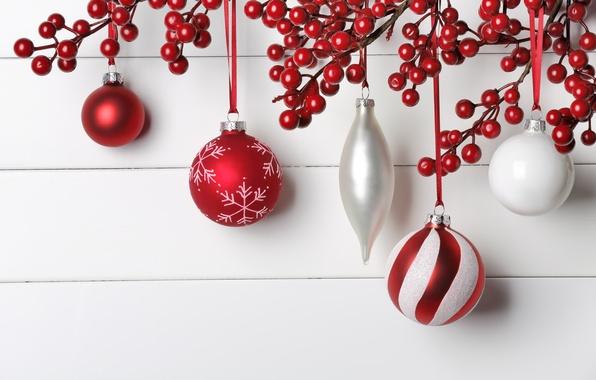 Картинка украшения, ягоды, шары, Новый Год, Рождество, Christmas, New Year, decoration, Merry