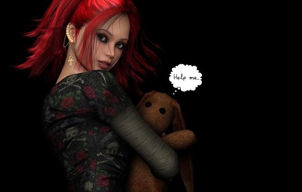 Картинка девушка, темный фон, игрушка, серьги, пирсинг, красные волосы
