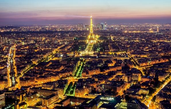 Картинка свет, ночь, город, огни, Франция, Париж, здания, дороги, дома, вечер, панорама, Эйфелева башня, Paris, архитектура, …