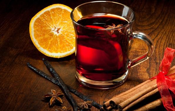 Картинка зима, апельсин, палочки, чашка, напиток, корица, ваниль, пряности, бадьян, анис, глинтвейн