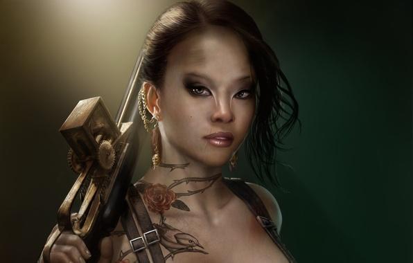 Картинка девушка, украшения, оружие, птица, череп, розы, серьги, колючки, тату, арт, татуировка, шрам, мутант