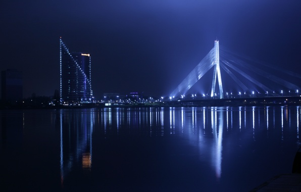 Картинка lights, bridge, water, night, staro Riga, Daugava, Riga