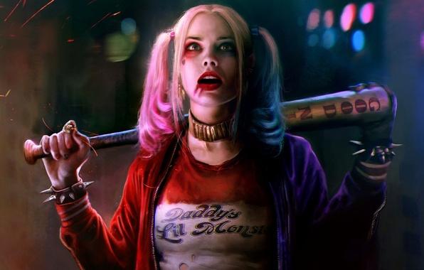 Картинка девушка, бита, harley quinn, Suicide Squad, отряд самоубийц, margot robbie