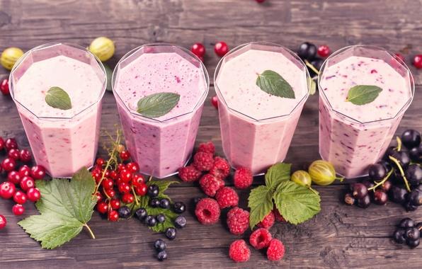 Картинка листья, ягоды, малина, коктейль, смородина, cocktail, berries, raspberry, milk, молочный, currant