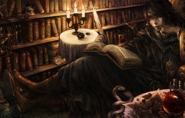 Картинка book, candles, books, feather, library, poet, dragon crown