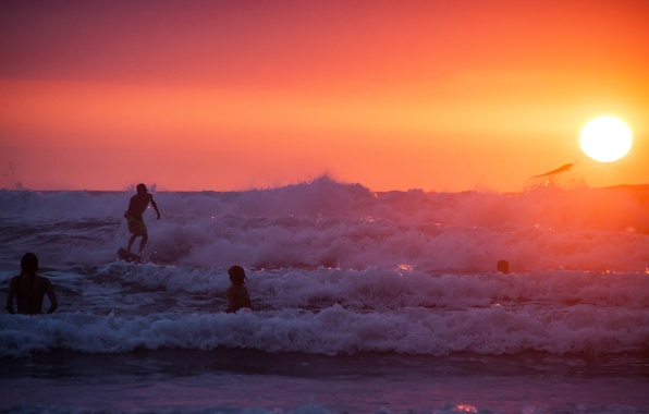 Картинка summer, beach, ocean, sunset, water, surf, wave