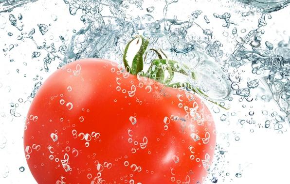 Картинка вода, капли, брызги, свежесть, красный, red, помидор, water, drops, овощ, spray, vegetable, Tomato