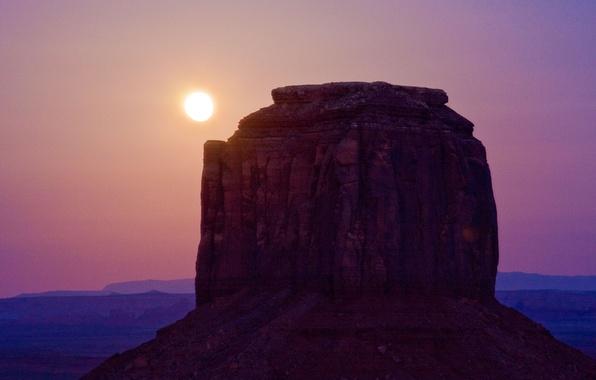 Картинка солнце, пейзаж, природа, скала, пустыня, гора, каньон