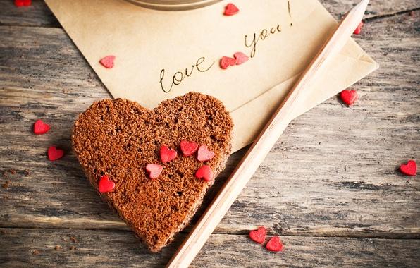 Картинка надпись, сердце, печенье, сердечки, карандаш, love you