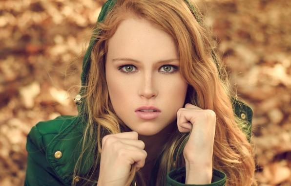 Картинка осень, взгляд, девушка, лицо, куртка, блондинка, капюшон