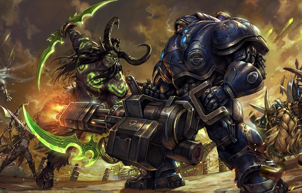 Картинка бой, starcraft, броня, World of Warcraft, битва, Warcraft, soldier, diablo, wow, illidan, Sylvanas, witch doctor, …