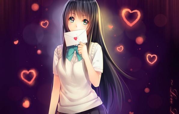 Картинка письмо, девушка, аниме, арт, сердечки, школьница, tidsean, формам