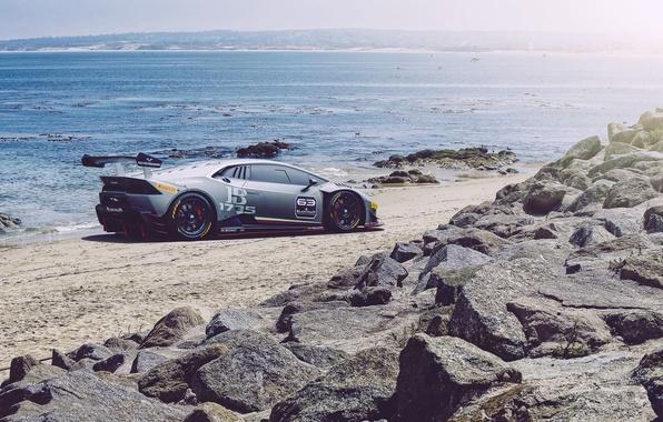 Картинка Lamborghini, Car, Race, Beach, Sun, Super, Rear, Huracan, Trofeo, Ligth, LP620-2