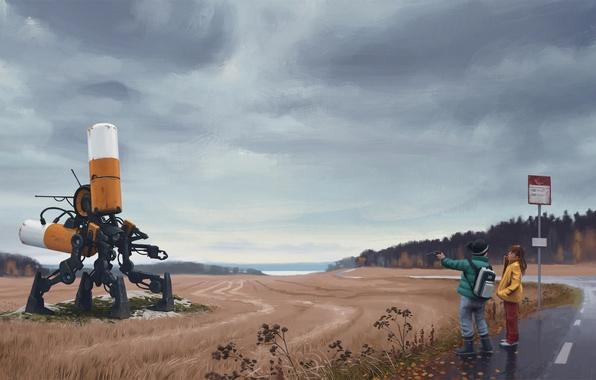 Картинка дорога, поле, машина, лес, тучи, дети, пистолет, оружие, фантастика, пасмурно, знак, робот, столб, мальчик, арт, …