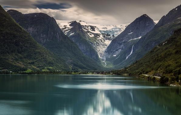 Картинка горы, озеро, Норвегия, Norway, Стрюн, Национальный парк Йостедалсбреен, Ледник Бриксдаль, Jostedalsbreen National Park, Stryn, Briksdalsbreen, …