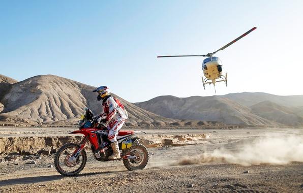 Картинка Горы, Спорт, Вертолет, Гонка, Мотоцикл, Гонщик, Мото, Rally, Dakar