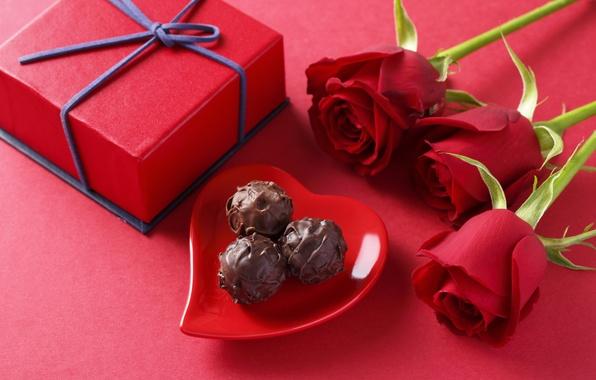 Картинка любовь, подарок, романтика, шоколад, розы, конфеты, love, Rose, heart, romantic, chocolate, gift, sweets, Valentines Day