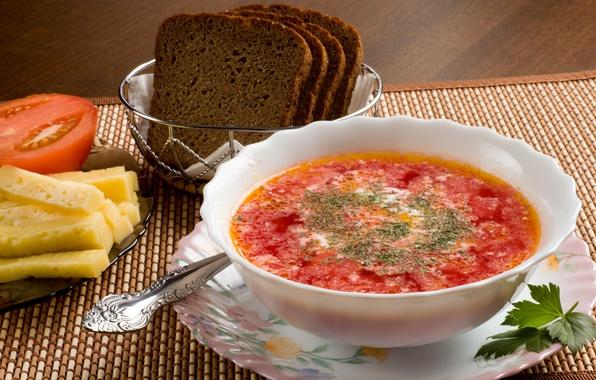Картинка зелень, еда, сыр, тарелка, хлеб, ложка, помидор, борщ, сметана