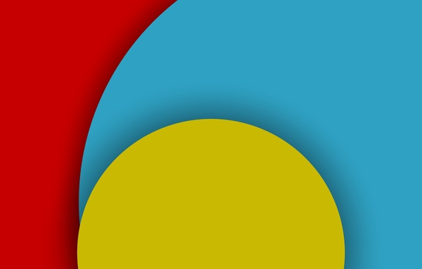 Картинка Android, Red, Circles, Blue, Design, 5.0, Line, Yellow, Colors, Lollipop, Stripes, Abstraction, Material, Hemicycle