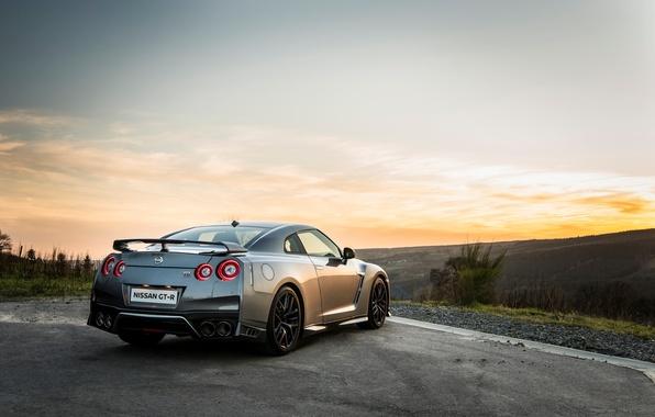 Картинка car, wallpaper, silver, Nissan, GT-R, автомобиль, вид сзади, ниссан, красавец